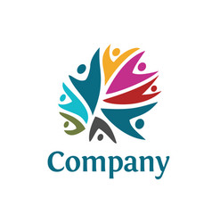 people community colorful logo vector image