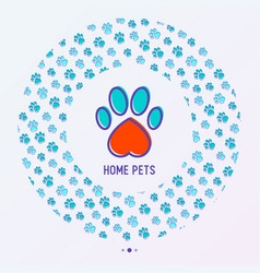 Pet paws concept in circle shape vector