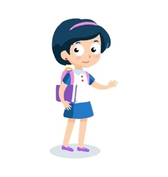 portrait teenager girl with school backpack vector image