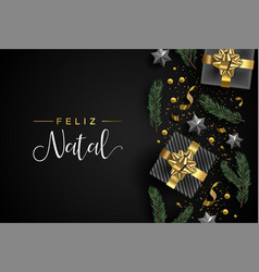 Portuguese christmas card of gift and xmas objects vector