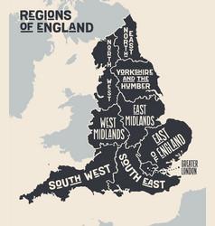 Poster map regions england vector