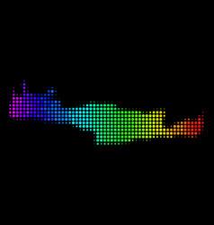 Rainbow colored dot crete island map vector