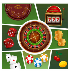 realistic casino elements composition vector image