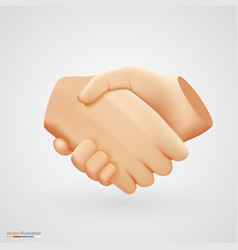 Realistic handshake sign on white background vector