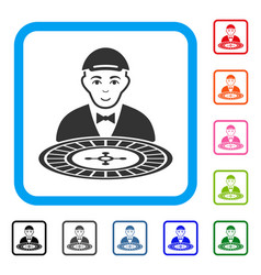 Roulette croupier framed happy icon vector