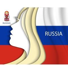 Russian woman russian flag vector