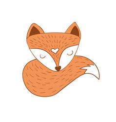 Scandinavian sleepy fox vector