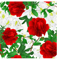 Seamless texture rose red and rhododendrons vector