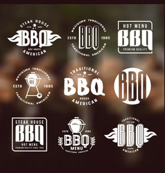 Set barbecue labels and emblems vector