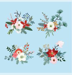 Set christmas bouquets made fir pine vector