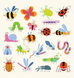 Set funny insects vector