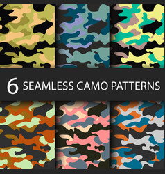 Set of 6 pack camouflage seamless patterns vector