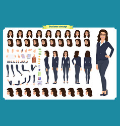 set of businesswoman character designfront side vector image