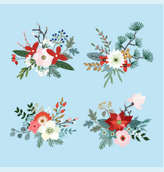 set of christmas bouquets made of fir pine and vector image
