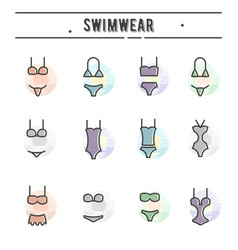 Set of swimwear icons in thin line style vector