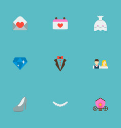 set of wedding icons flat style symbols with just vector image