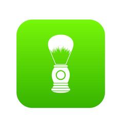 shaving brush icon digital green vector image