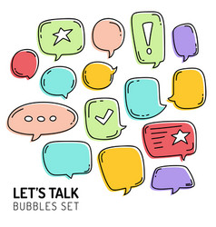 Speech bubble talk traditional doodle icons vector