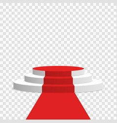 stage podium with red carpet white round pedestal vector image