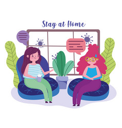 Stay at home young women talking in living room vector