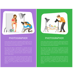 Studio and still life photographers posters text vector