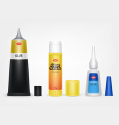 Super and moment glue tubes realistic vector