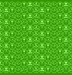 The floral patterns on a green background vector