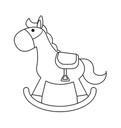 toy wooden horse in black and white vector image