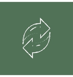 Two circular arrows icon drawn in chalk vector image