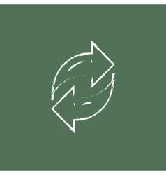 Two circular arrows icon drawn in chalk vector