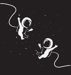Two funny little astronauts fly together vector