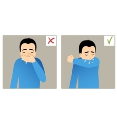Two images with boy sneezing in hand and elbow vector