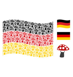 Waving germany flag collage of mushroom items vector