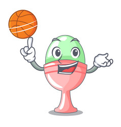With basketball boiled egg cup isolated on mascot vector