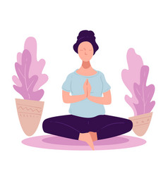 woman practicing yoga asanas or meditation at home vector image