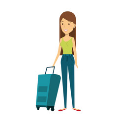 Young woman with suitcase avatar character vector
