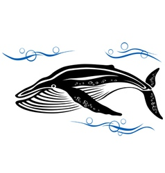 Big black whale in ocean water vector image