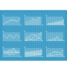 Blueprint infographic line graphs and charts vector