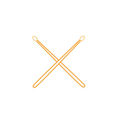 color line drumstick object of wooden to play drum vector image