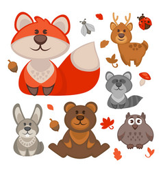 set of cute cartoon forest animals vector image vector image