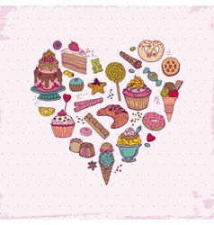 Background with Cakes Sweets and Desserts vector image vector image
