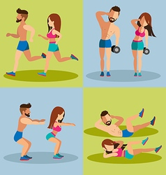 Couple running and Weight Training Basic for vector image vector image