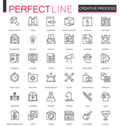 creative process thin line web icons set outline vector image