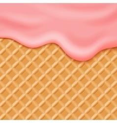 Flowing pink glaze on wafer background vector image vector image