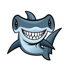 Happy cartoon hammerhead shark character vector image