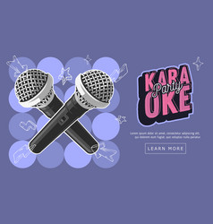 karaoke party music web design with microphones vector image vector image