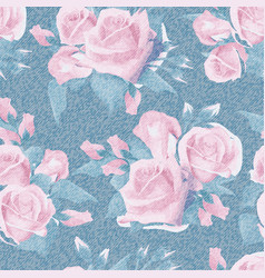 light blue denim with colorful floral pattern vector image