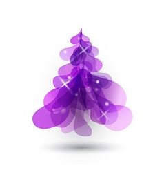 Purple Christmas tree with blurred lights on white vector image vector image