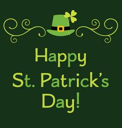 st patricks day greeting card with leprechaun set vector image