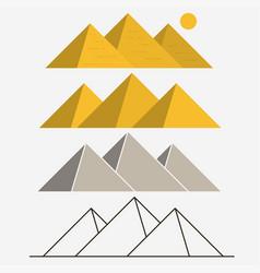 Egypt pyramids giza landscape outline vector